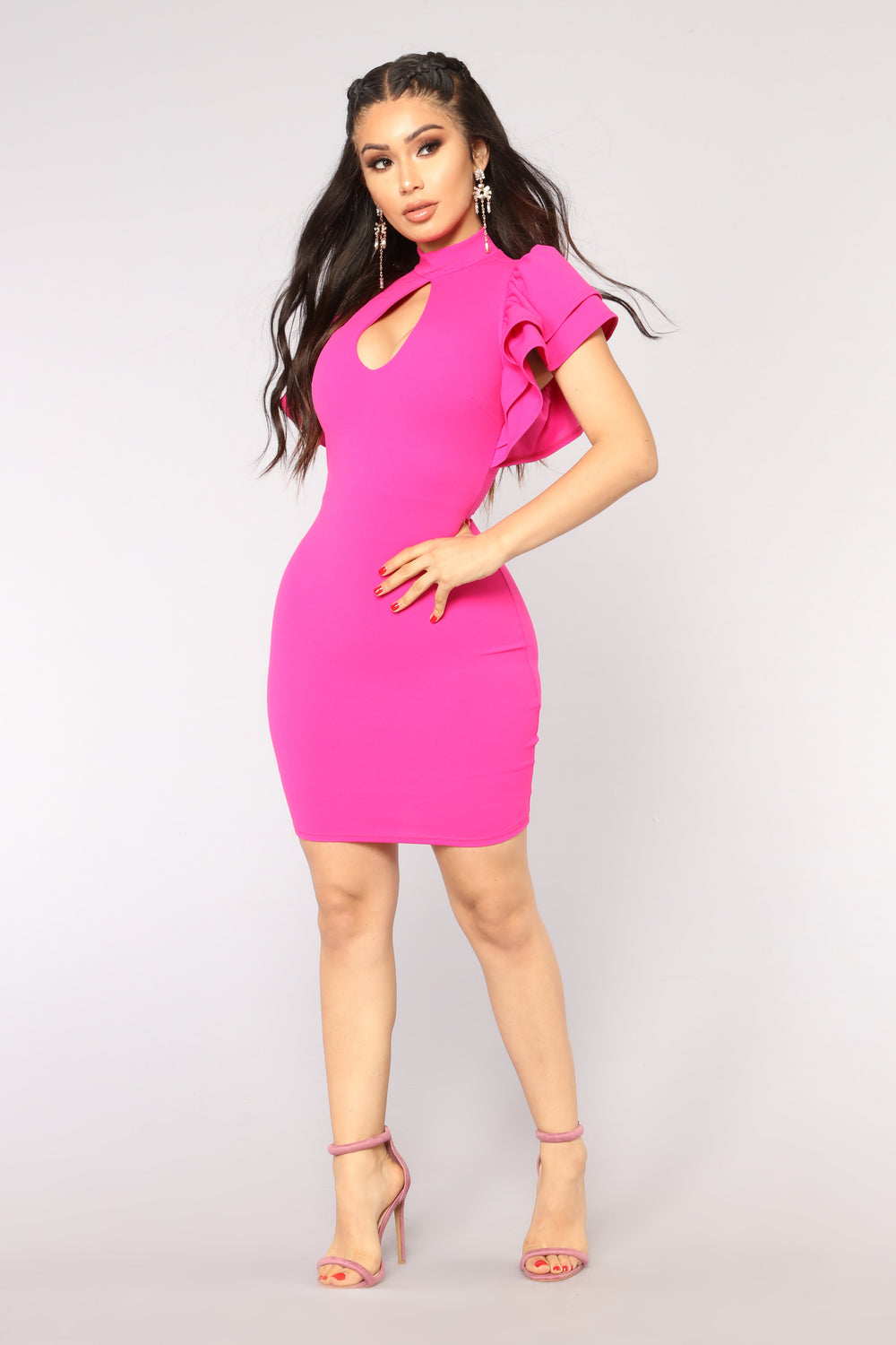 Julie Ruffle Sleeve Dress - Fuchsia
