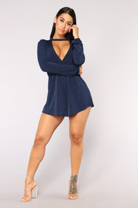 Cecille Choker Romper - Navy