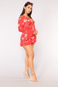 Passion Beach Floral Romper - Red Pattern