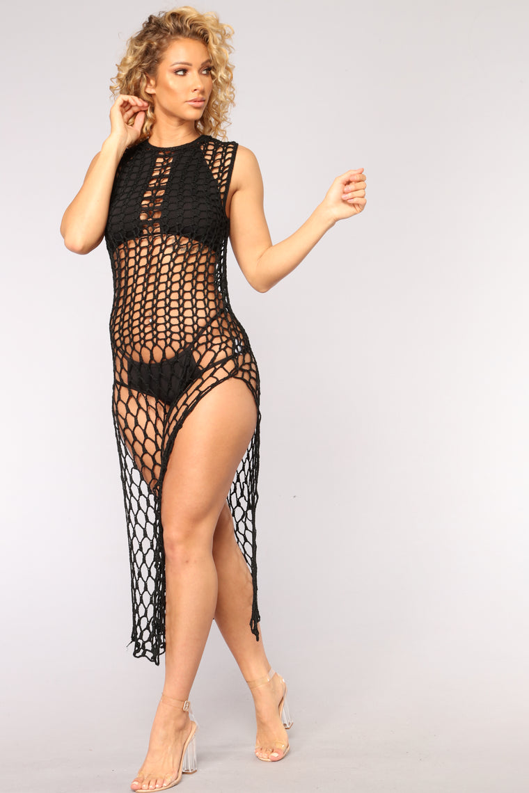 Part Of Your World Crochet Cover Up - Black
