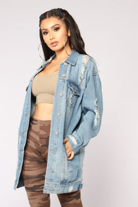 Street Chic Distressed Denim Jacket - Light Denim