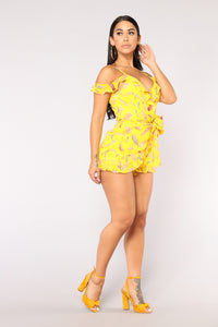 Fly Away From Reality Romper - Yellow