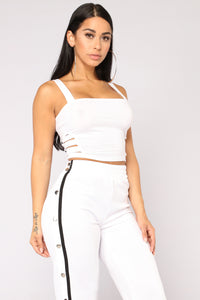 You're Cut Off Crop Top - White