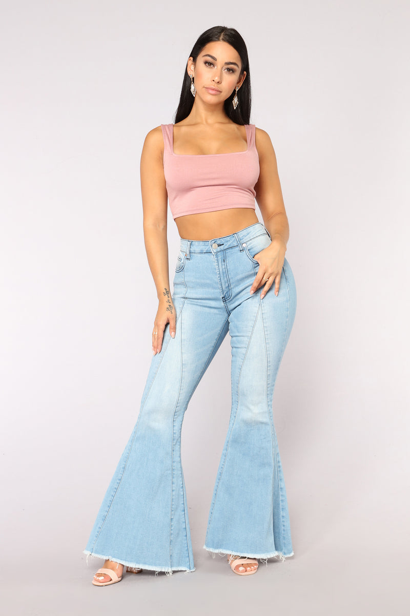 All Day Everyday Square Neck Crop Top - Mauve