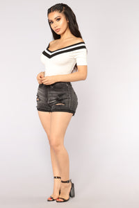 It's A Reach Short Sleeves Crop Top - Ivory Angle 4