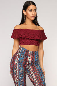 Florence Off Shoulder Lace Top - Burgundy