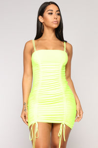 Cosmic Connection Ruched Dress - Neon Yellow