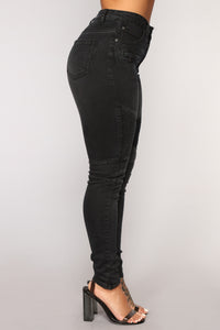 Fast Engines Moto Skinny Jeans - Black