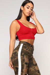 Not Your Basic Babe Crop Top - Red