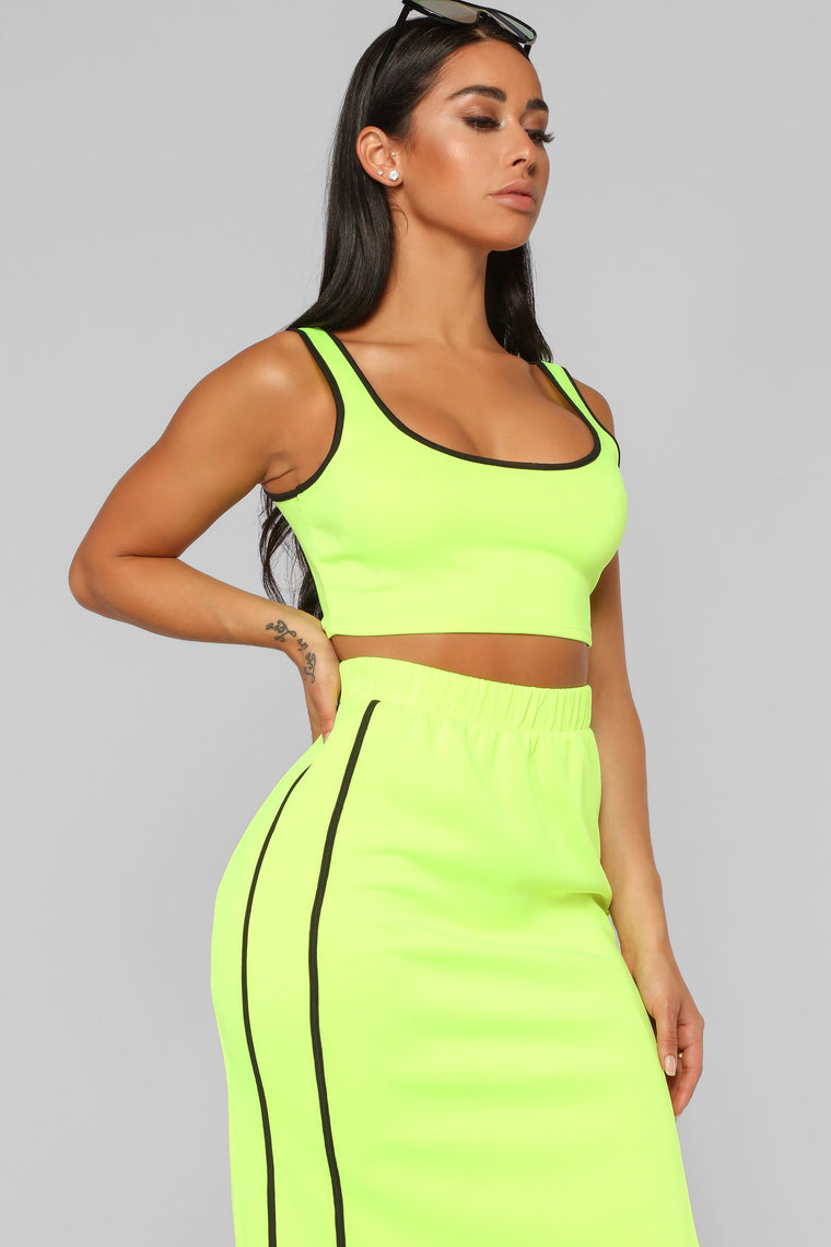 Track Team Skirt Set - Neon Yellow