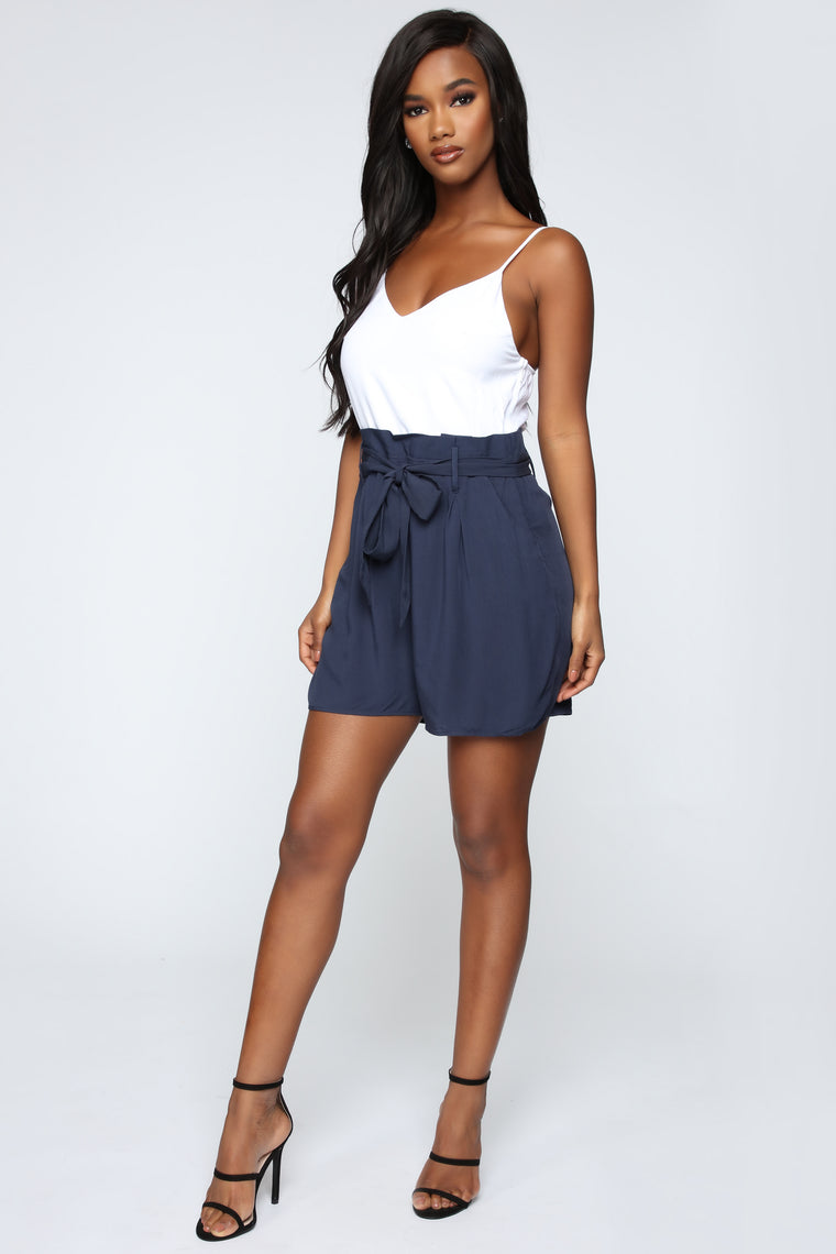 All In The Bag Romper - White/Blue