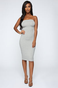 Rhianna Tube Dress - Heather Grey