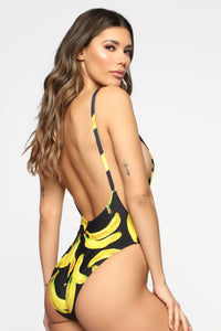 Standout Metallic Swimsuit - Black/Yellow