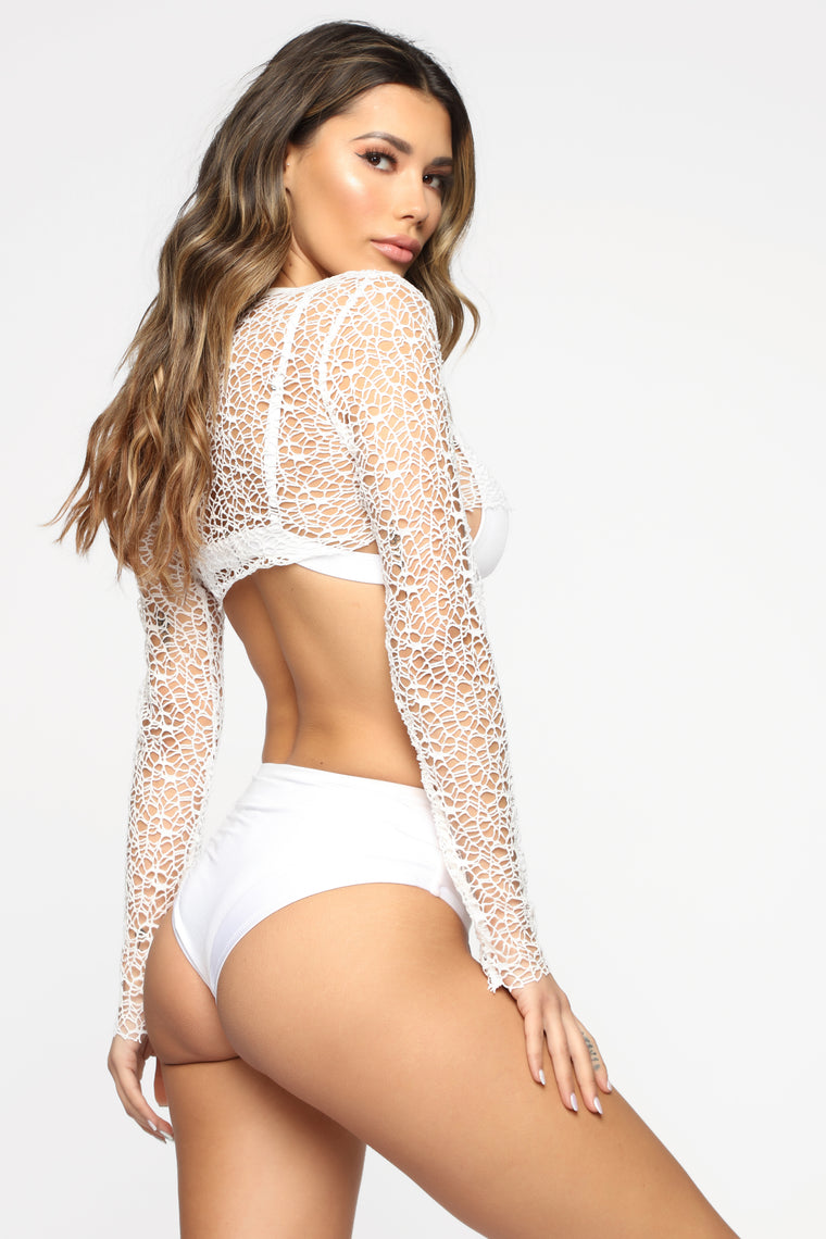 Top It Off Crochet Cover Up - White