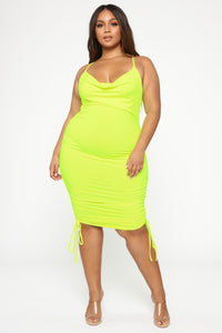 Know Your Worth Ruched Dress - Neon Yellow