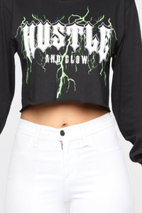 Hustle And Glow Cropped LS Top - Black Combo
