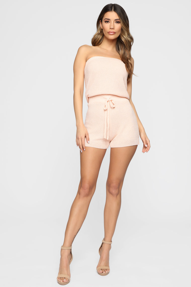 No Days Off Tube Romper - Blush