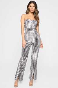 Gotta Go Gingham Jumpsuit - Black/White