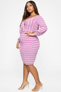 Tied Affairs Stripe Dress - Purple Angle 7