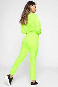 Jump In My G Wagon Windbreaker Jumpsuit - Lime
