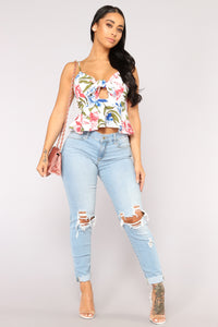Pretty Petals Crop Top - Ivory/combo Angle 4