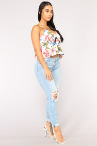 Pretty Petals Crop Top - Ivory/combo Angle 2