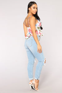 Pretty Petals Crop Top - Ivory/combo Angle 3