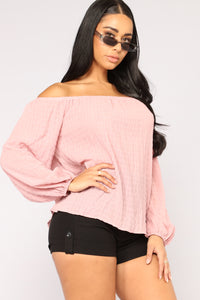 Giving You The Cold Shoulder Top - Pink
