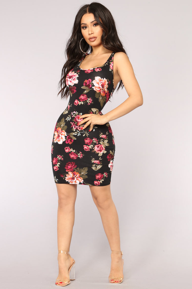 Flowers And Chocolate Floral Dress Black