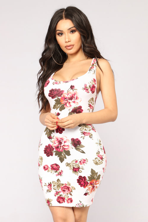 Flowers And Chocolate Floral Dress - Ivory