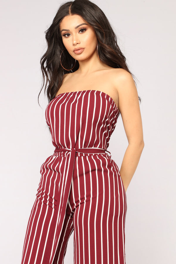 3a323dda00 Across The Pond Striped Jumpsuit - Burgundy White