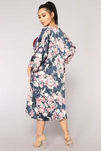 You Can Keep The Roses Kimono - Teal