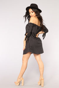 Back On The Mainland Striped Dress - Black/White