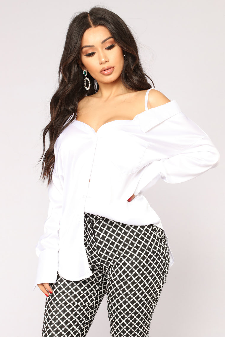 Can't Forget Me Satin Top - White