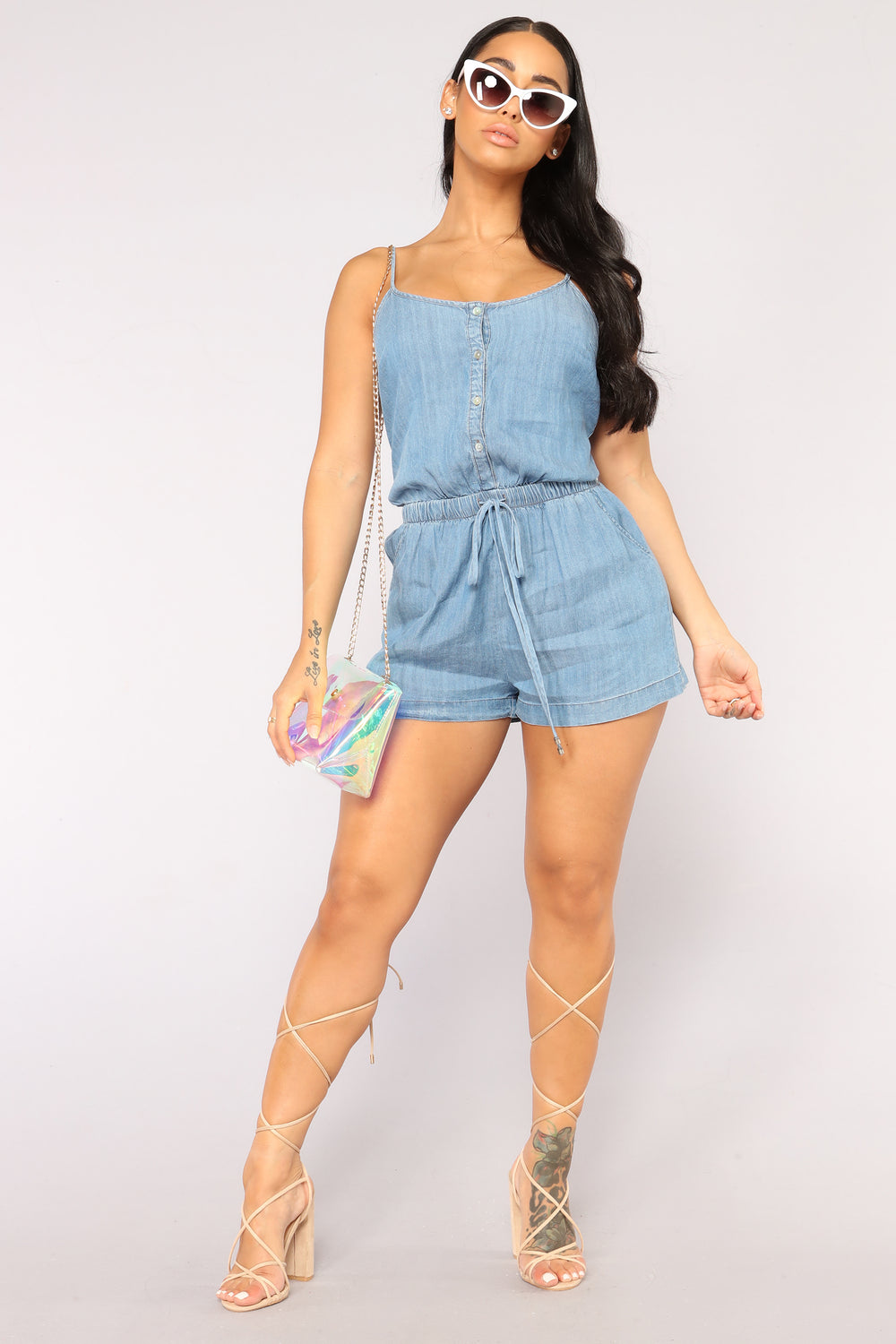 Clearwater Chambray Romper - Medium Wash
