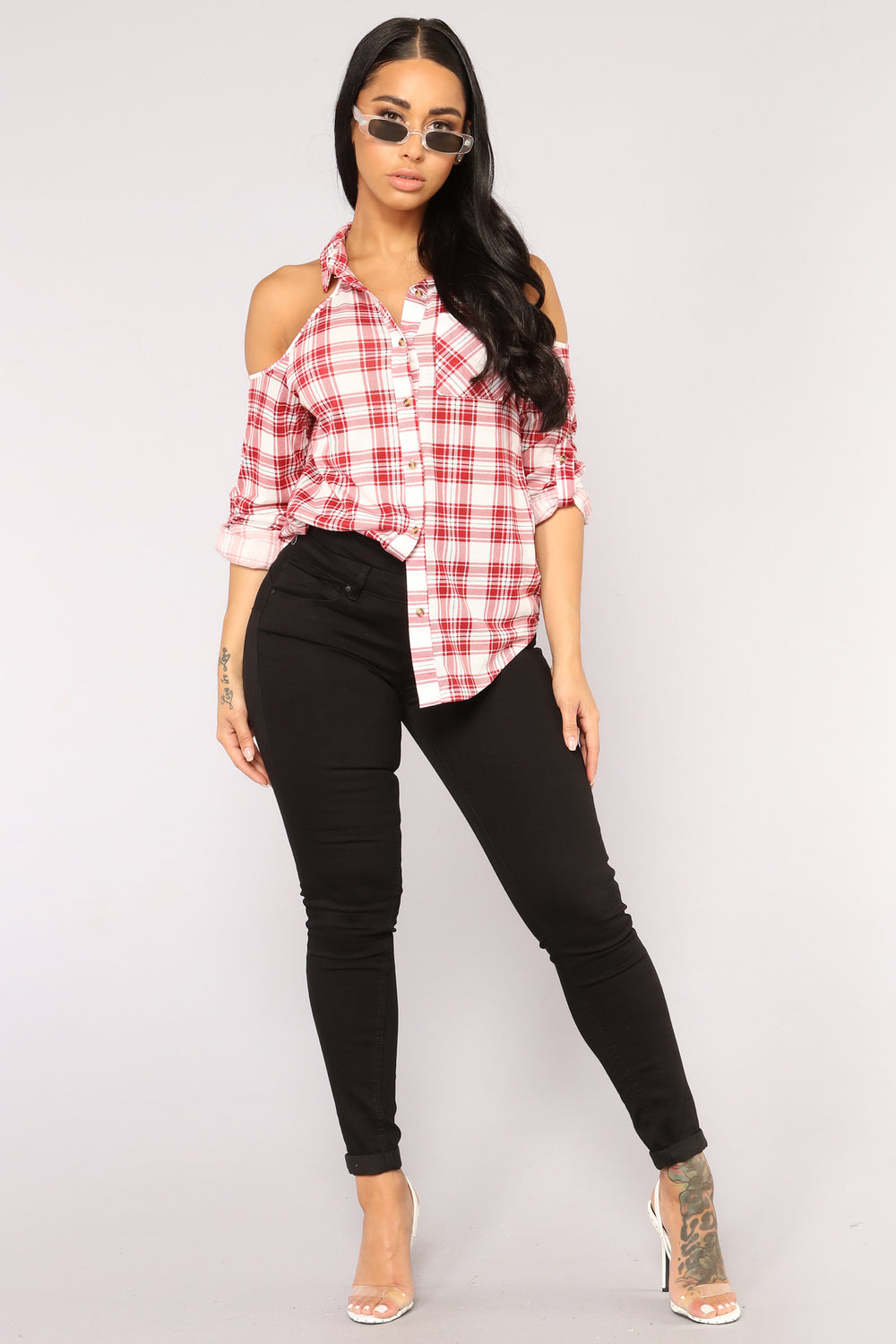 New Day New Plaid Top - Red Combo