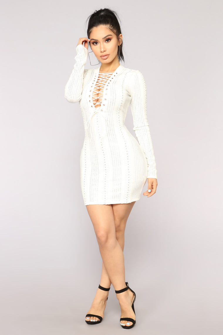 No Consequences Embellished Dress - White