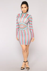 Pop Of Color Rhinestone Dress - Multi