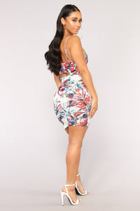 Sun Splash Tropical Dress - White