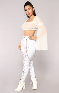 Back On Top Lace Up II Jeans - White