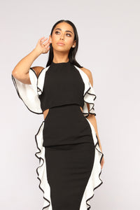 Law Of Attraction Colorblock Dress - Black/White