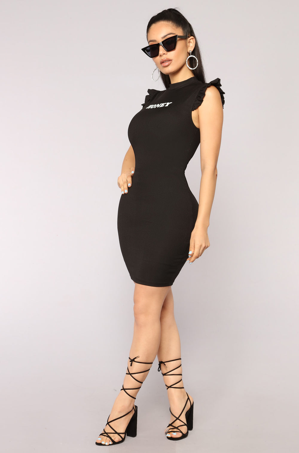 Honey Honey Ribbed Dress - Black