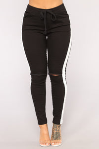 Karina Striped Joggers - Black/White