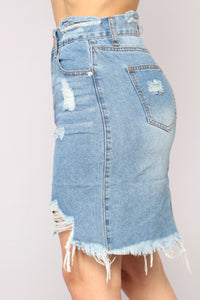 Vivian Distressed Denim Skirt - Medium Blue Wash