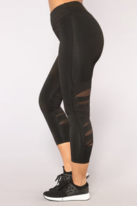 Cut It Out Active Leggings - Black/Black