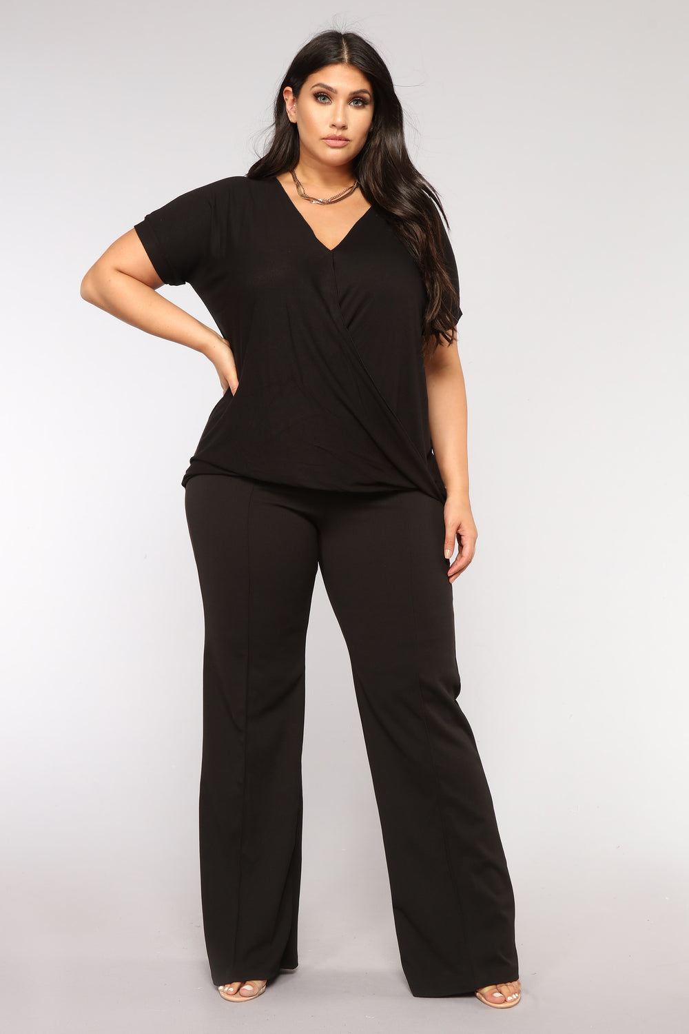Simple Things V Neck Top - Black