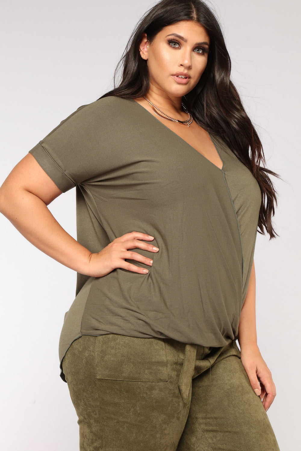 Simple Things V Neck Top - Olive