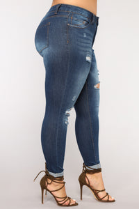 Johanna Distressed Skinny Jeans - Dark Denim