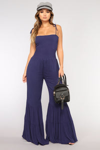 Rydel Smocked Jumpsuit - Navy