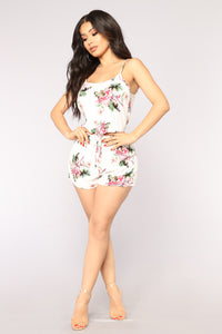 All Inclusive Resort Tropical Romper - Off White
